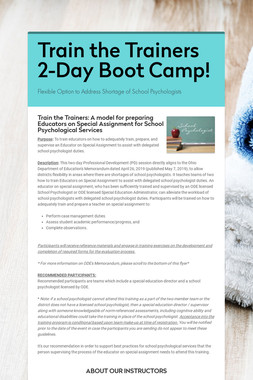 Train the Trainers 2-Day Boot Camp!
