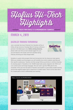 Hofius Hi-Tech Highlights