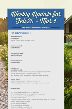 Weekly Update for Feb 25 - Mar 1