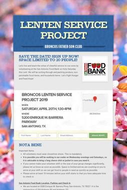 Lenten Service Project