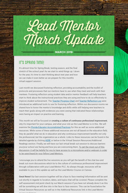 Lead Mentor March Update