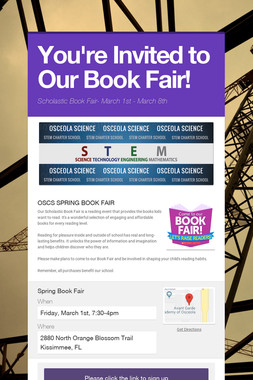 You're Invited to Our Book Fair!