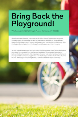Bring Back the Playground!