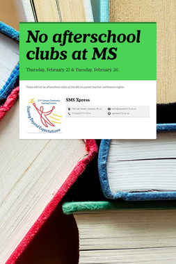 No afterschool clubs at MS