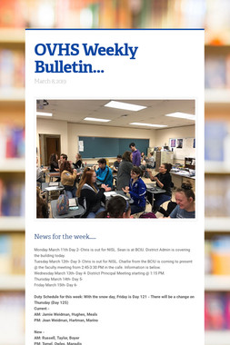 OVHS Weekly Bulletin...