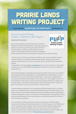 Prairie Lands Writing Project