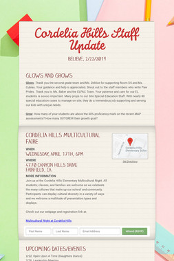 Cordelia Hills Staff Update
