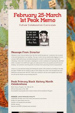 February 25-March 1st Peak Memo