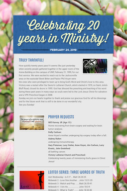 Celebrating 20 years in Ministry!