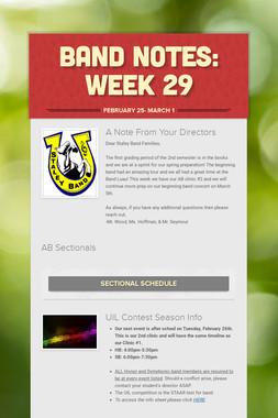 Band Notes: Week 29