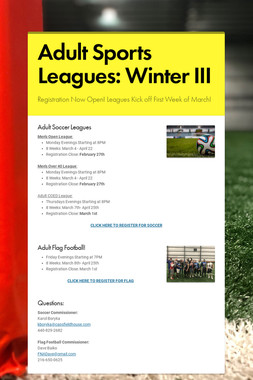 Adult Sports Leagues: Winter III