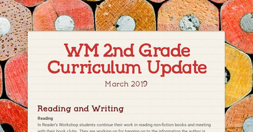 WM 2nd Grade Curriculum Update | Smore Newsletters for Education