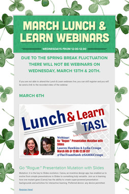 March Lunch & Learn Webinars