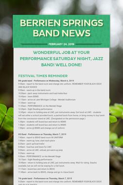 Berrien Springs Band News
