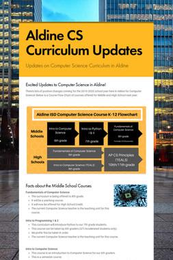 Aldine CS Curriculum Updates