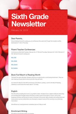 Sixth Grade Newsletter