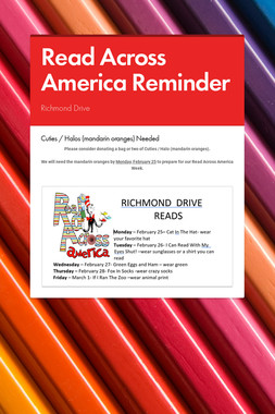 Read Across America Reminder