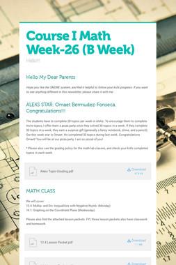 Course I Math    Week-26   (B Week)