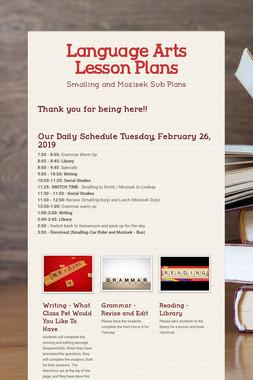 Language Arts Lesson Plans
