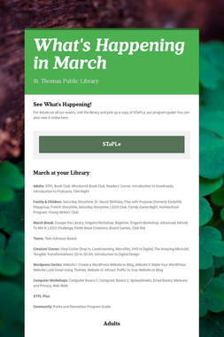 What's Happening in March