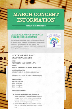 March Concert Information