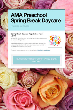 AMA Preschool Spring Break Daycare