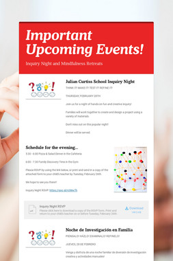 Important Upcoming Events!