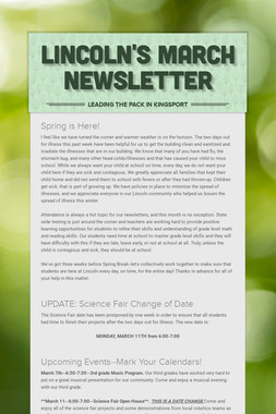 Lincoln's March Newsletter