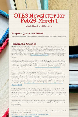 OTES Newsletter for Feb25-March 1