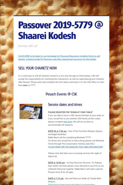 Passover 2019-5779 @ Shaarei Kodesh