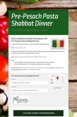 Pre-Pesach Pasta Shabbat Dinner