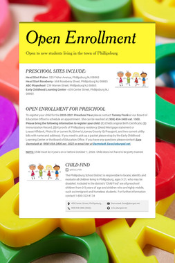 OPEN ENROLLMENT FOR PRESCHOOL!