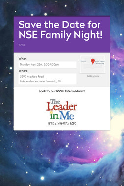 Save the Date for NSE Family Night!