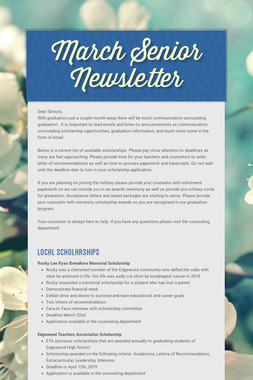 March Senior Newsletter