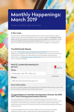 Monthly Happenings: March 2019