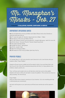 Ms. Monaghan's Minutes -  Feb. 27