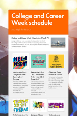 College and Career Week schedule