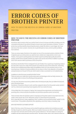 ERROR CODES OF BROTHER PRINTER