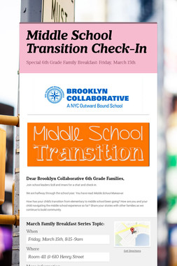 Middle School Transition Check-In