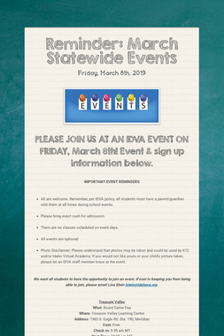 Reminder: March Statewide Events