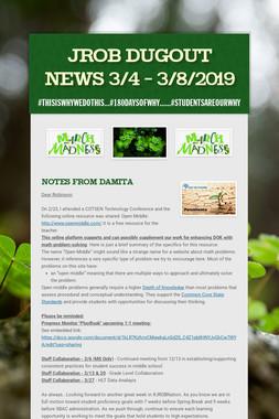JROB Dugout News 3/4 - 3/8/2019