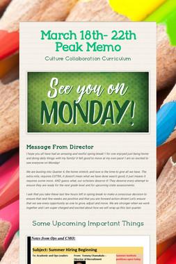 March 18th- 22th Peak Memo