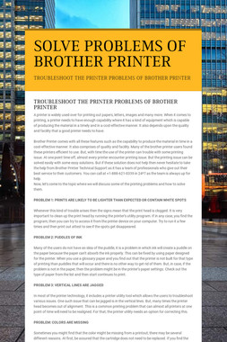 SOLVE PROBLEMS OF BROTHER PRINTER