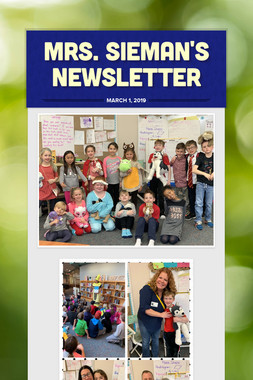 Mrs. Sieman's Newsletter