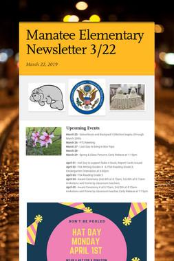 Manatee Elementary Newsletter  3/22