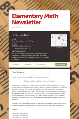 Elementary Math Newsletter