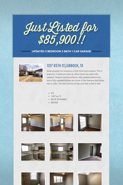 Just Listed for $85,900!!