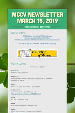 MCCV Newsletter March 15, 2019