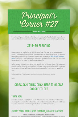Principal's Corner #27