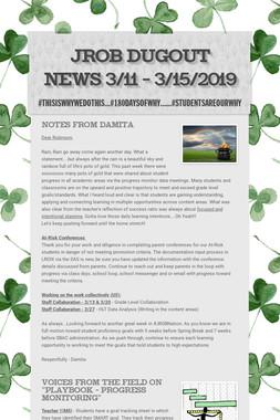 JROB Dugout News 3/11 - 3/15/2019